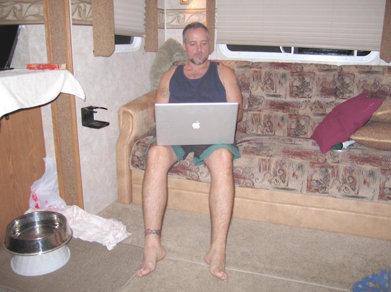 Jim blogging the night away