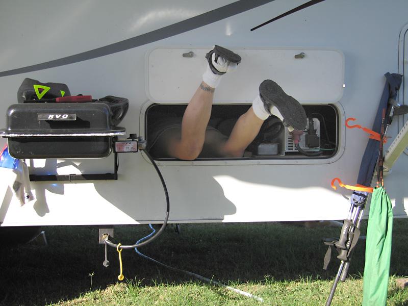 Rene investigates RV Plumbing Leak
