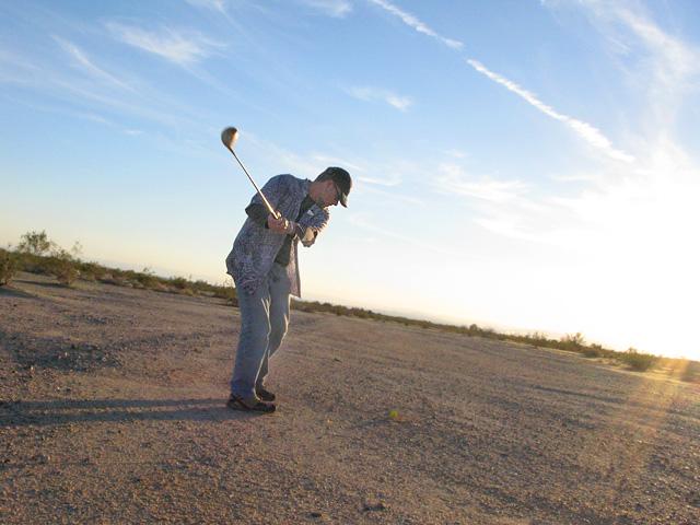 Happy Jim Golfing Slab City Gopher Flats