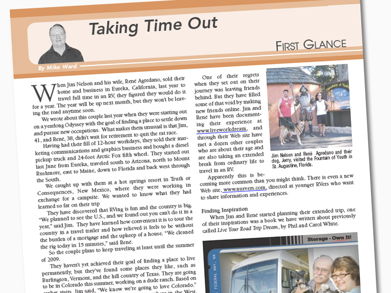 RV Life Magazine features LiveWorkDream update from Jim and Rene