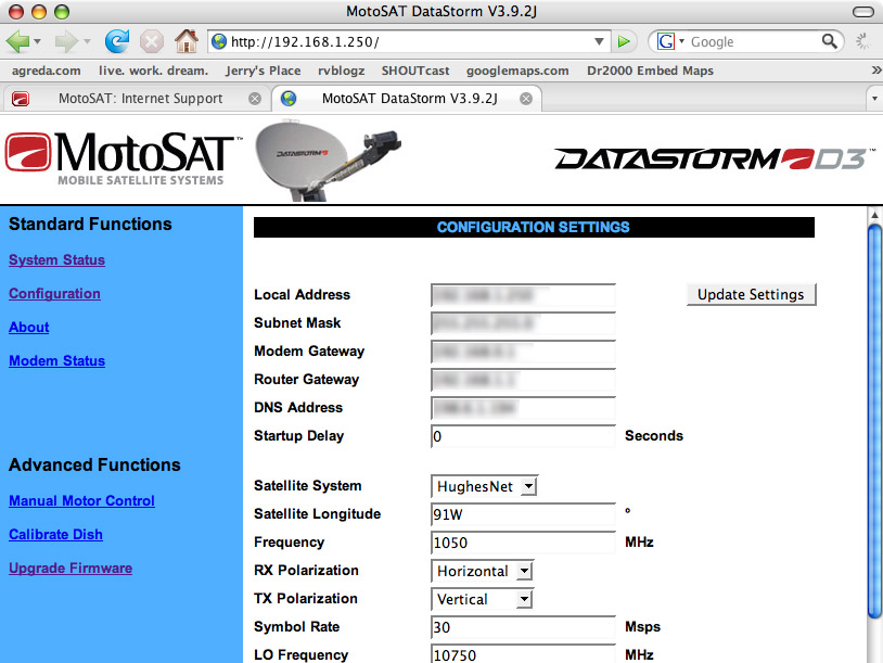 MotoSat Datastorm D3 Satellite Dish Controller Interface