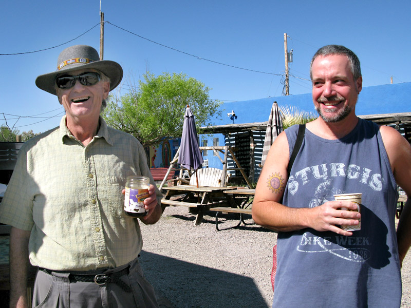 Jim and Dale enjoy free morning coffee.
