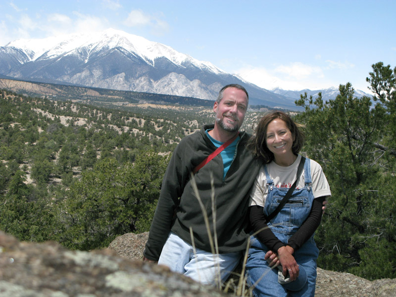View of Rene and Jim and the Collegiate Peaks