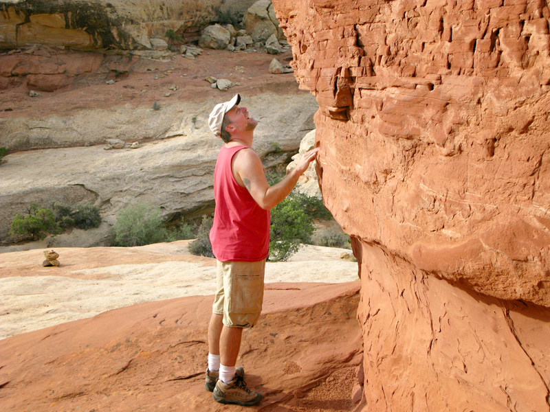 Jim Touches the Cohab Canyon Proposal Altar in Capitol Reef National Park