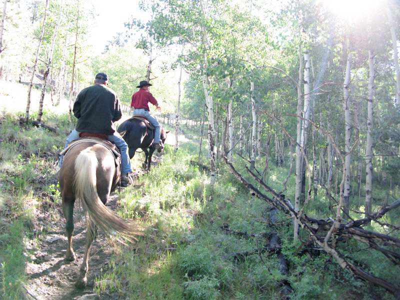 Jeremy and Jim lead the Vickers Ranch Breakfast Ride
