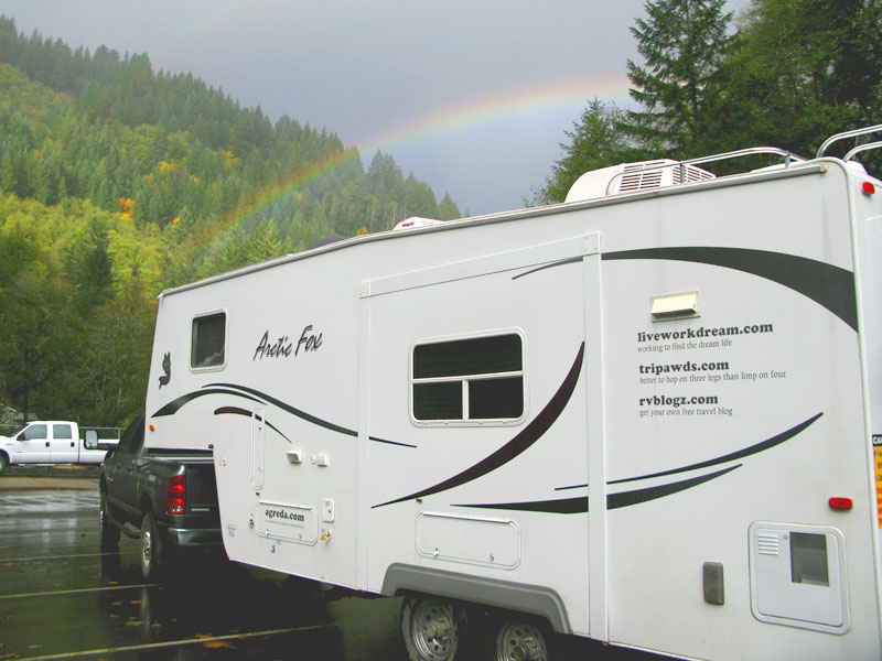 rainbow over rig at oregon hatchery research center