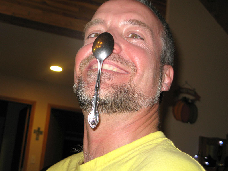 jim learns spoon on nose trick
