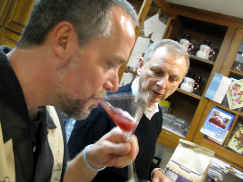 Jim tastes juicy martinis with Dave
