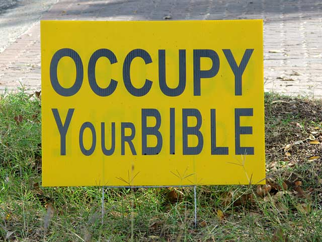 Oxymoronic Occupy Bible Wall Street Movement Sign