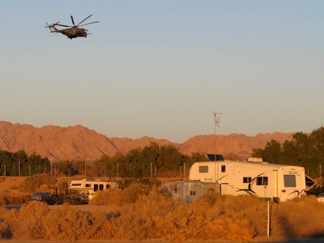 Military Helicopter Maneuvers over Slab City RVs