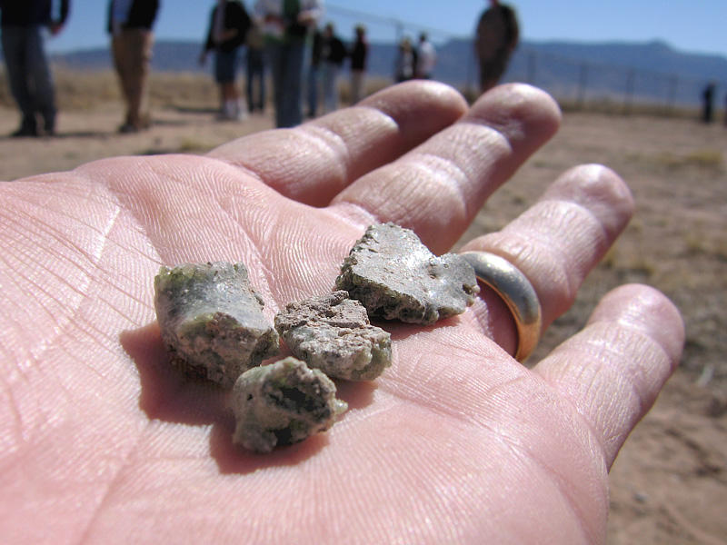 Holding Trinitite at Trinity Test Site