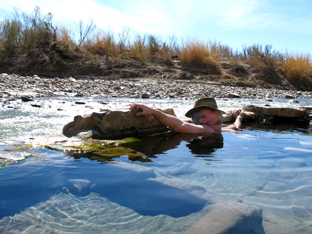 Jim soaks in Big Bend hot springs