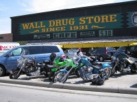 Choppers parked outside Wall Drug, SD