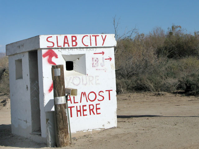 Which way to Slab City at gun turret?