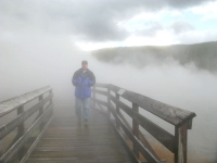 Jim crosses Hot Lake in Yellowstone National Park