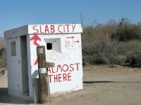 Which way to Slab City at gun turret?