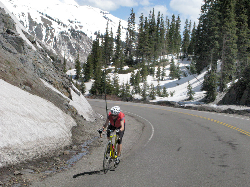 Crazy cyclist on Red Mountain Pass near Ouray Colorado