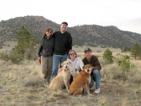 Lilla , Neil and their pack at Silver Cliff Heights property