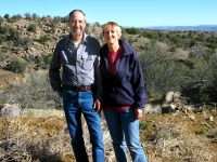 RVers Kim and Sam near New Mexico property