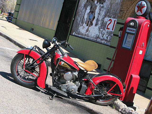 Old Indian Motorcycle and Gas Pump in Bisbee Arizona