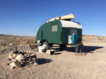 Classic Camper trailer at Government Wash Lake Mead Nevada