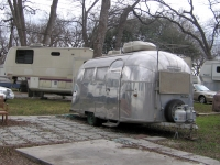 Airstream trailer at Pecan Grove RV Park, Austin Texas