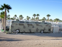 Camouflage bus in Quartzite, AZ