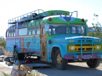 Rainbow Hippie Bus Boondocking at The Slabs