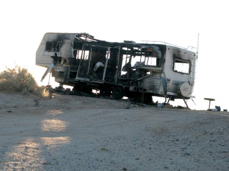 Burnt Out RV at the Slabs