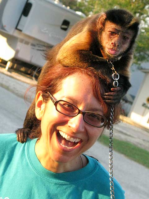 April, Crested Kapuchen Monkey and Rene