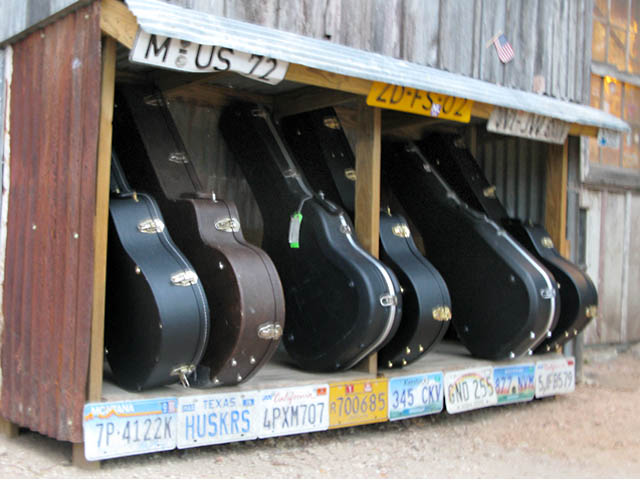 Guitar Parking in Luckenbach Texas