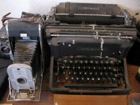Hallie Stillwell's old Polaroid Camera and Underwood Typewriter