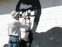 Painting Mural at Roy Orbison Museum Wink Texas
