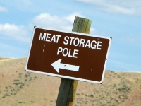 Meat Storage Pole Sign on Wyoming BLM Land
