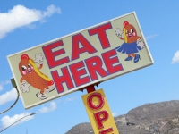 Eat Here Sign At Jimmy's Hos Dogs Bisbee, AZ
