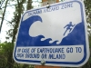 tsunami hazard zone warning sign at Cape Disappointment, Washington