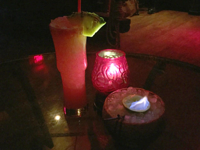 Flaming Coconut Drink at the Golden Tiki, Las Vegas NV
