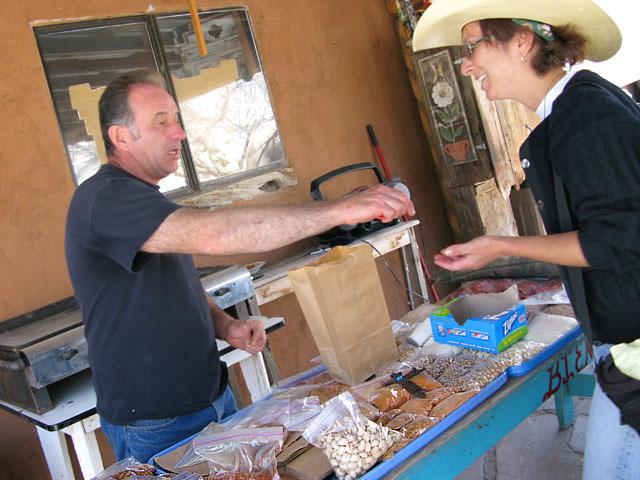 Rene enjoys Carlos Medina chile tasting ritual at Chimayo, NM