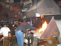 Fireplace at Handlebars Restaurant and Saloon in Silverton, CO