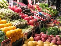 Veggie vendor Pikes Place Market Seattle