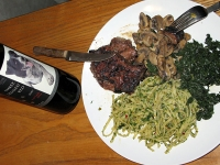 Vegan Pasta, Greens and Rib Eye Steak