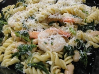 Pressure Cooked Fusilli Greens and Shrimp