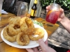 Gristmill onion rings and sangria