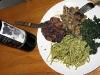 Vegan Pasta, Greens and Rib Eye Steak