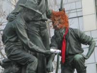 Masked San Francisco Civic Center Statue