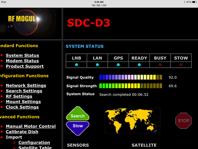 RF Mogul D3 Satellite Dish Controller Software