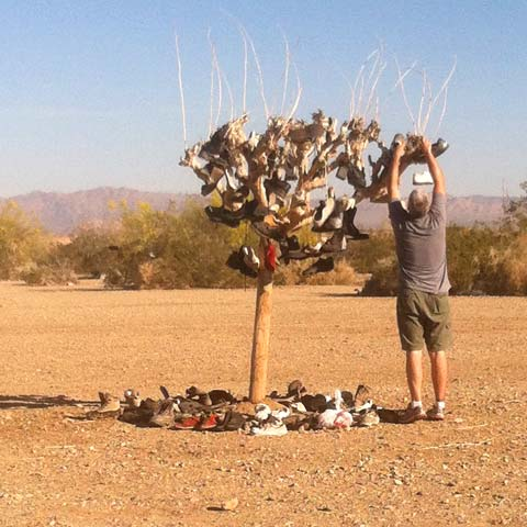 Hanging Shoes at the Slab City Soul Tree