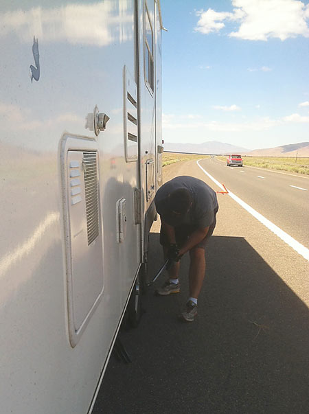Trailer Tire Blowout on Highway