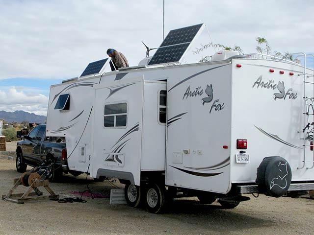 RV Solar Power Installation on Arctic Fox Fifth Wheel