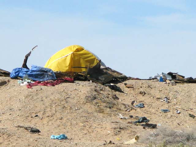 Slab City Resident Impromptu Shade Shelter Tent